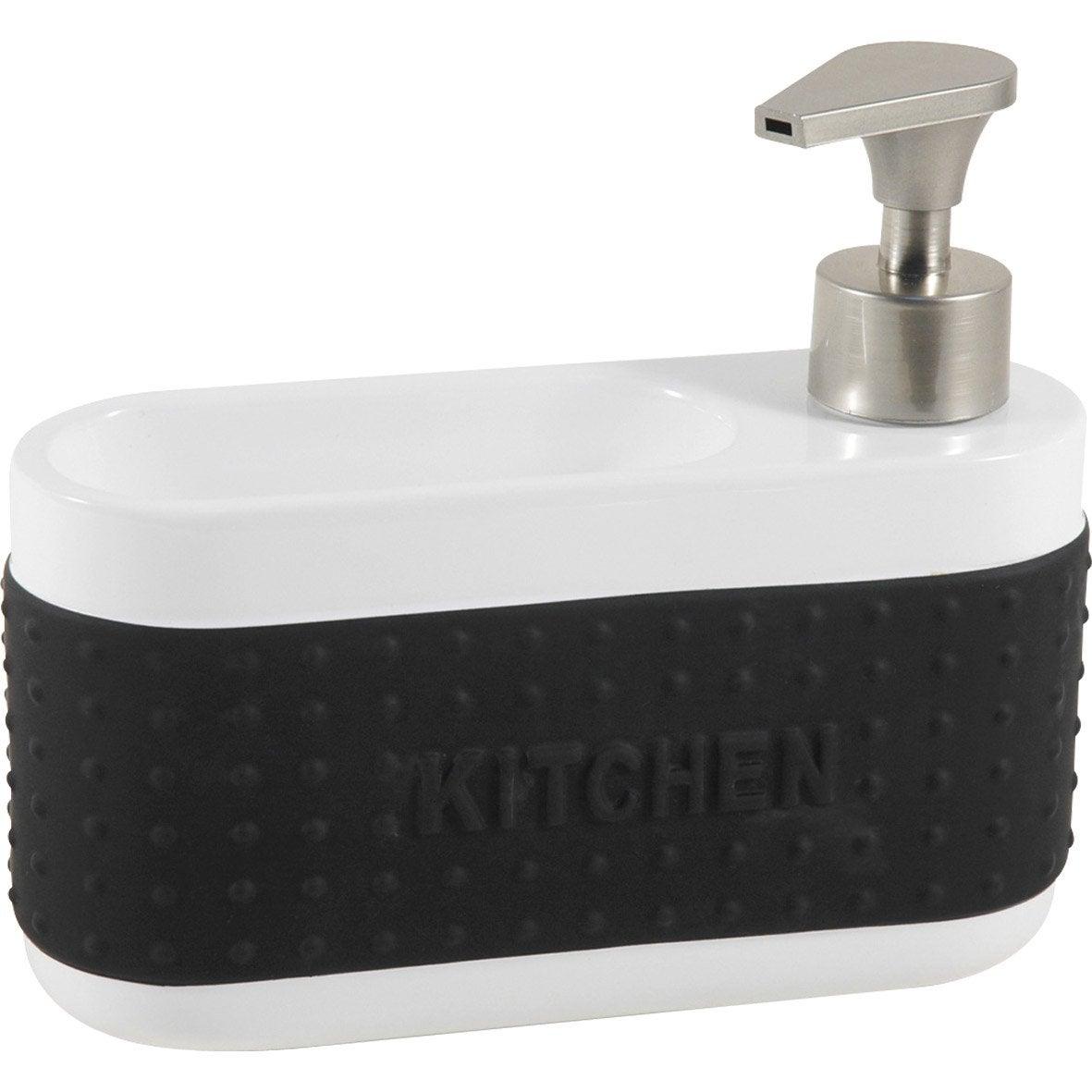 Distributeur de savon céramique avec porte-éponge noir-noir n°0