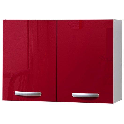 Meuble de cuisine haut 2 portes rouge brillant h57x l80x - Placard de cuisine haut ...