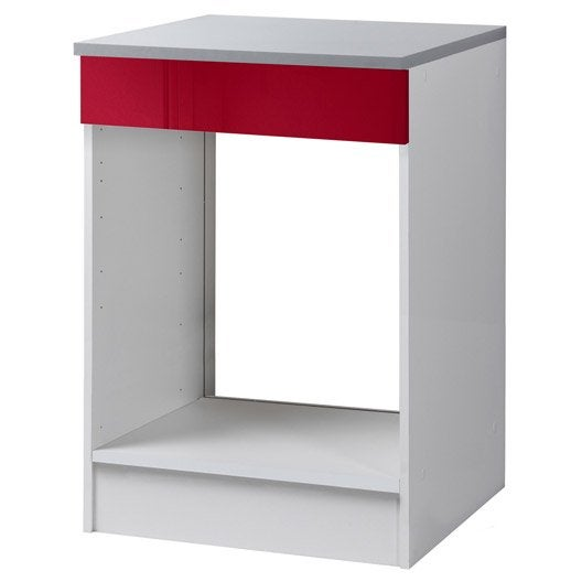 Meuble de cuisine bas four rouge brillant h86x l60x for Meuble cuisine brillant