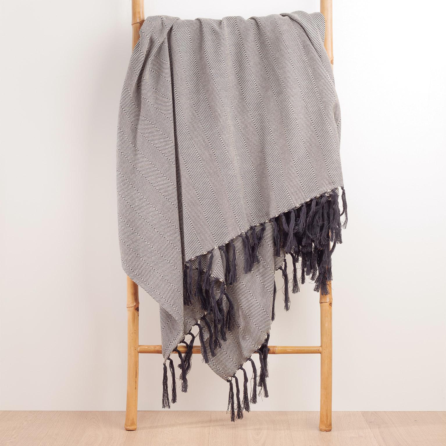 Plaid Ziggy fringes, blanc/noir l.180 x L.220 cm