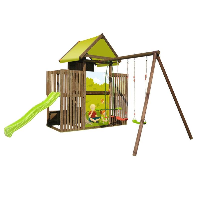 Aire De Jeux Bois P Tit Chatenay 215415 Avec Toboggan Soulet H 330 Cm