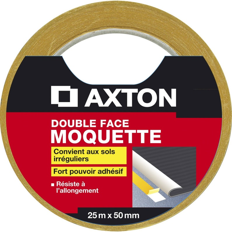 Rouleau Adhésif Double Face Moquette L50 Mm X L25 M Axton