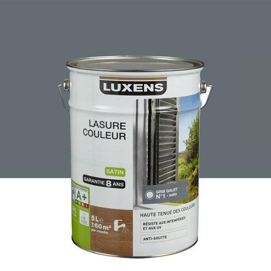 Lasure luxens 5 l gris galet n 1 leroy merlin for Lasure bois interieur couleur