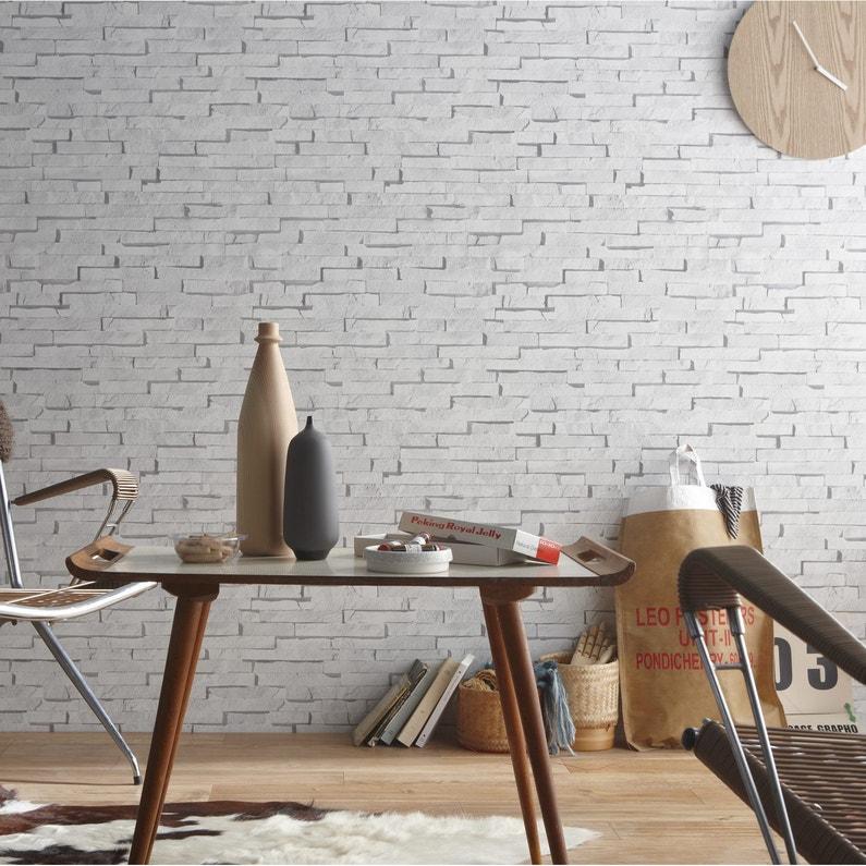 Papier Peint Intissé Craie Briquettes Blanc Leroy Merlin