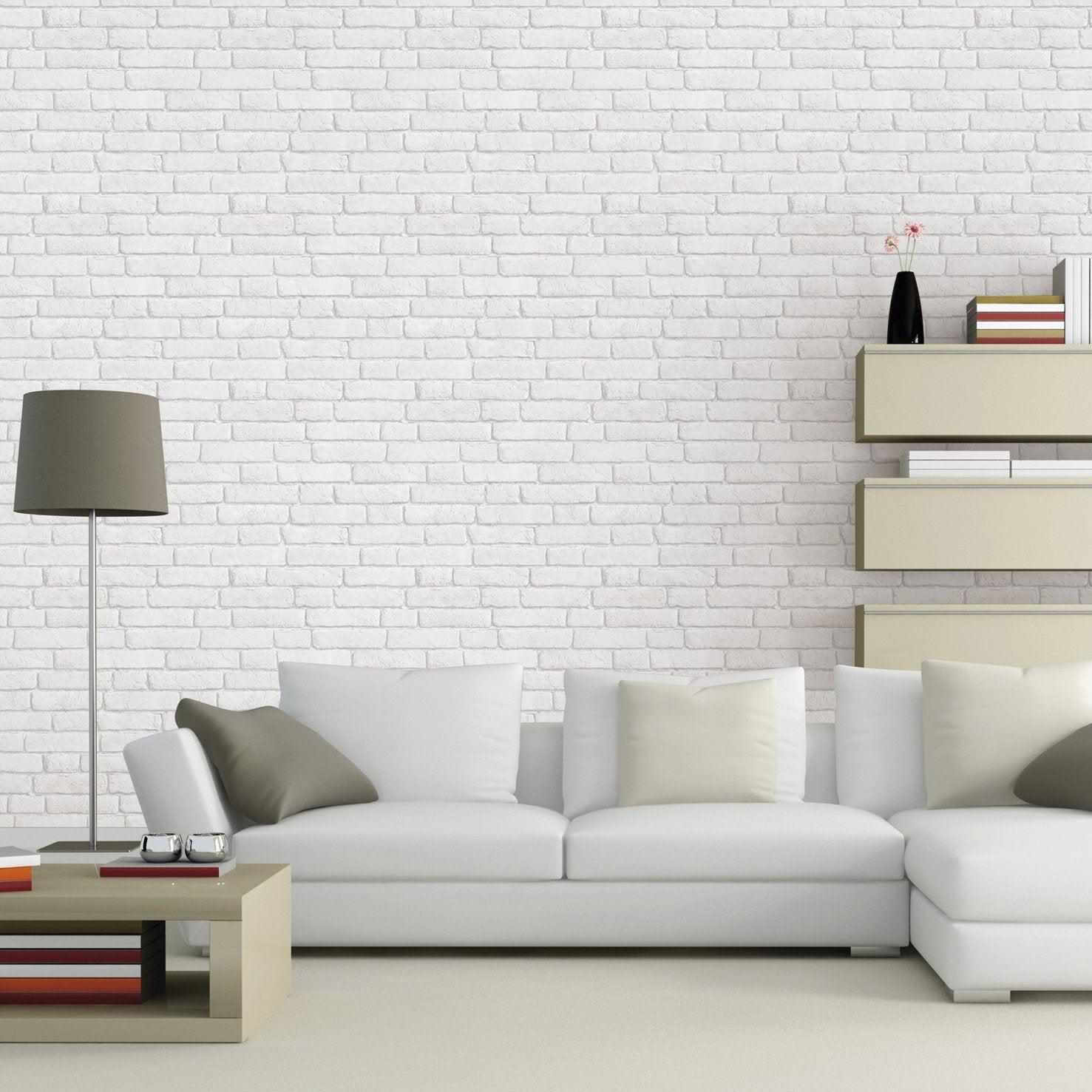 Papier peint intissé Briques anciennes blanches blanc grisé