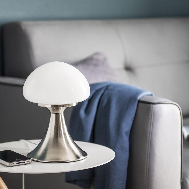 Lampe tactile, chic, métal nickel commande, INSPIRE Kinoko