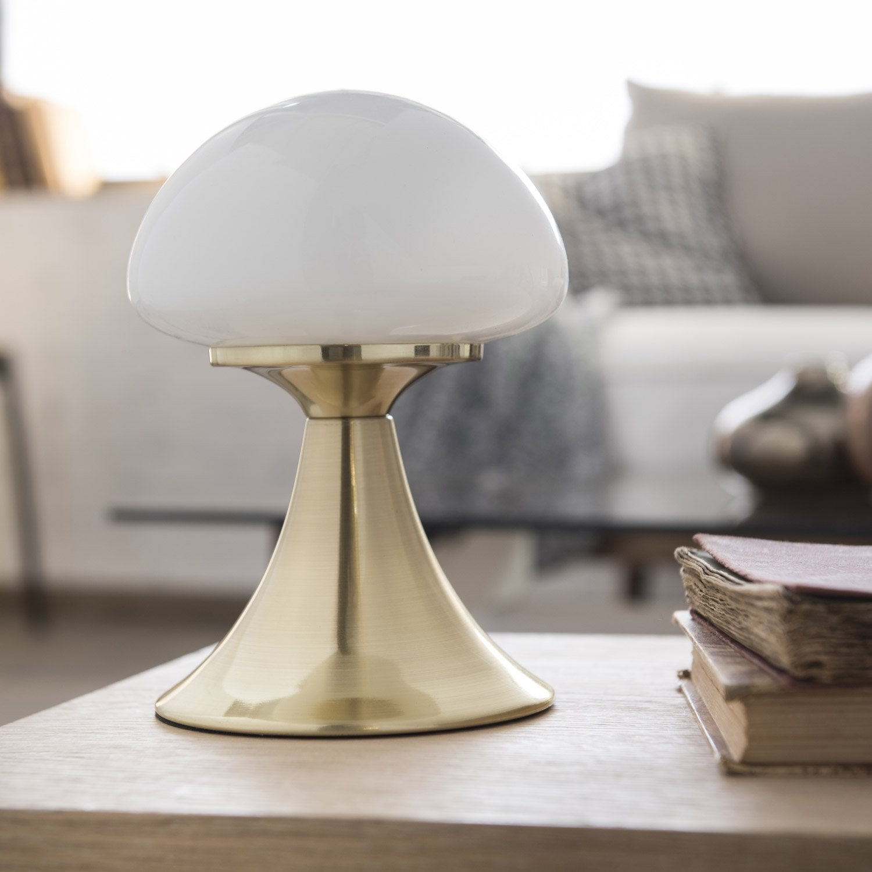 Lampe tactile, led intégrée Kinoko INSPIRE, verre blanc, 4 W