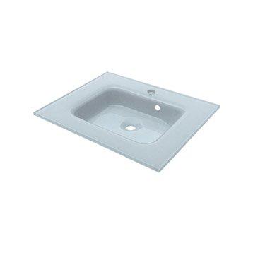 Plan vasque simple Ice Verre 61 cm