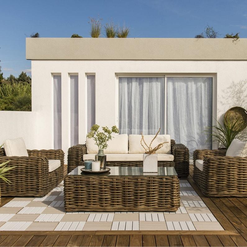 Salon bas de jardin Ayamonte bois naturelle, 5 personnes | Leroy Merlin