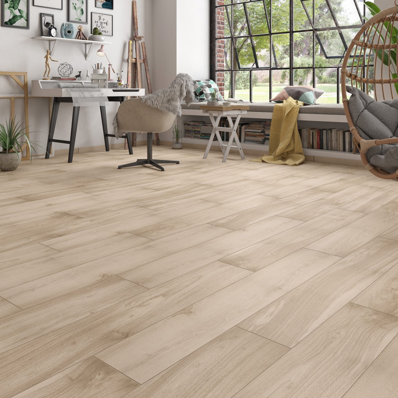 Carrelage sol et mur brun clair effet bois Essenzia l.20 x L.120 cm