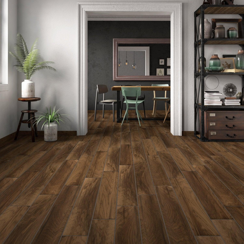 Carrelage sol et mur brun fonçé effet bois Spania l.15 x L.90 cm