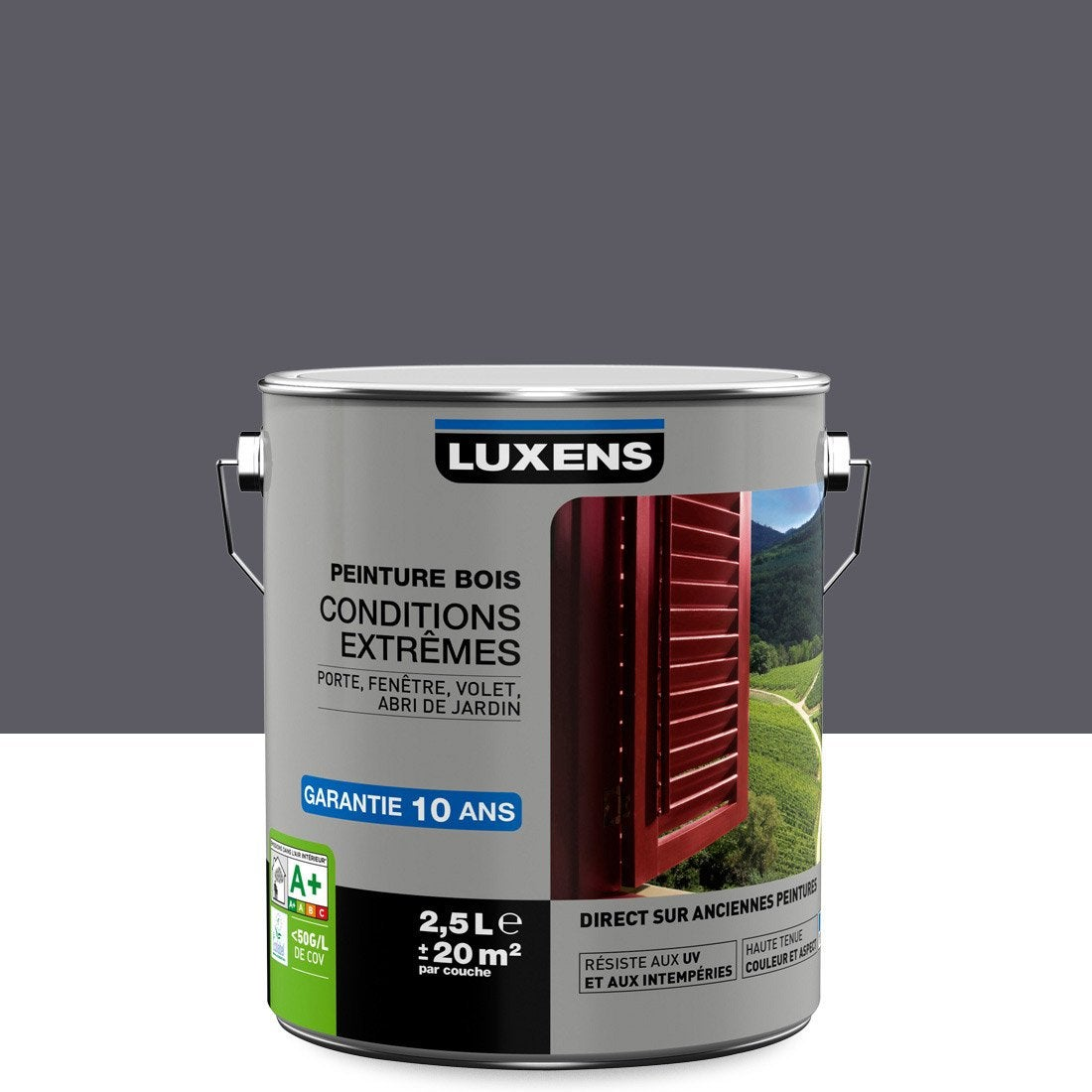 Peinture Bois Extérieur Conditions Extrêmes LUXENS, Gris Galet N°1, 2.5 L  ...