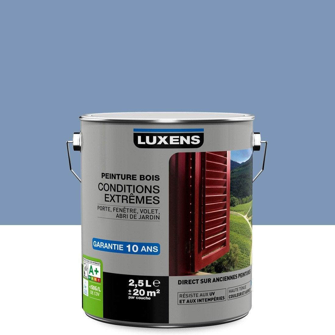 Peinture Bois Extérieur Conditions Extrêmes LUXENS, Bleu Provence, 2.5 L