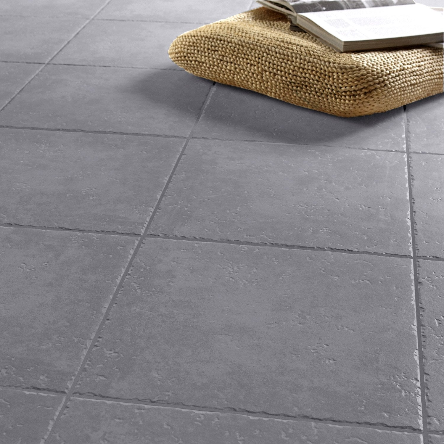 Carrelage sol gris anthracite effet pierre michigan x cm leroy merlin - Joint carrelage gris anthracite ...