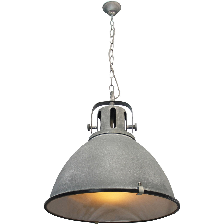 suspension e27 style industriel jesper m tal gris b ton 1. Black Bedroom Furniture Sets. Home Design Ideas