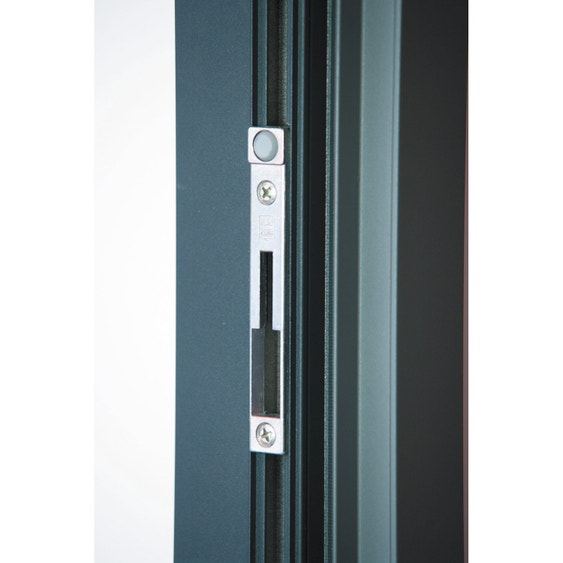 baie vitrée aluminium gris brico premium h215 x l240 cm