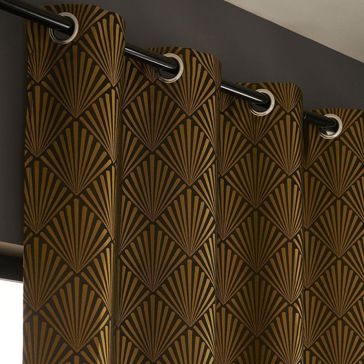 Rideau tamisant, Tilda, noir et doré, l.140 x H.260 cm