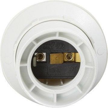 Douille électrique à vis E27 polyester, blanc