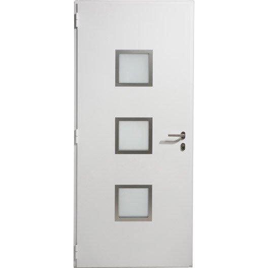 Porte d 39 entr e aluminium seattle artens poussant droit x cm leroy merlin - Montage porte d entree ...