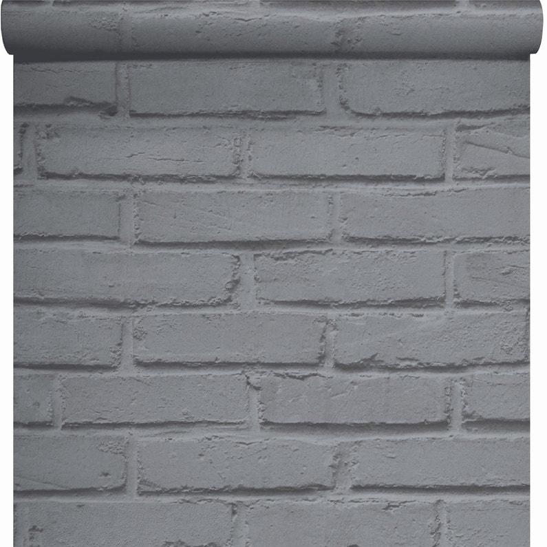 Papier Peint Papier Brique Loft Argent Leroy Merlin