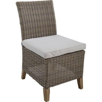 Lot de 2 chaises de jardin en résine Vintage gris