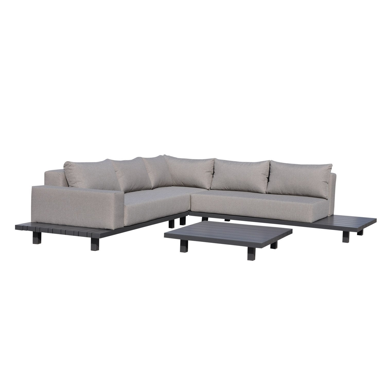 Salon bas de jardin Delorm miami aluminium gris clair, 5 personnes