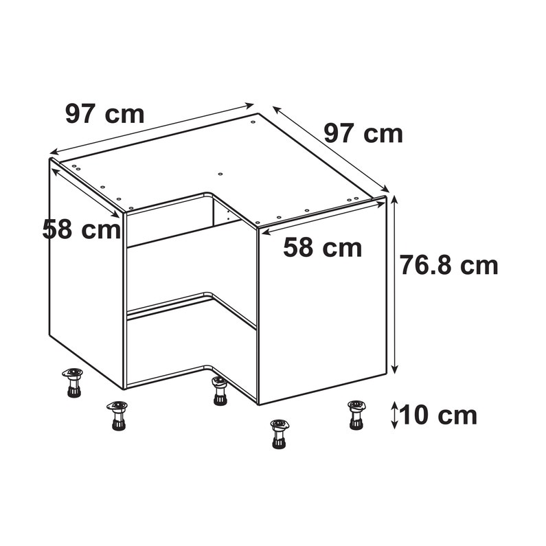 Caisson De Cuisine Meuble Bas D Angle Delinia Id Blanc H 76 8 X L