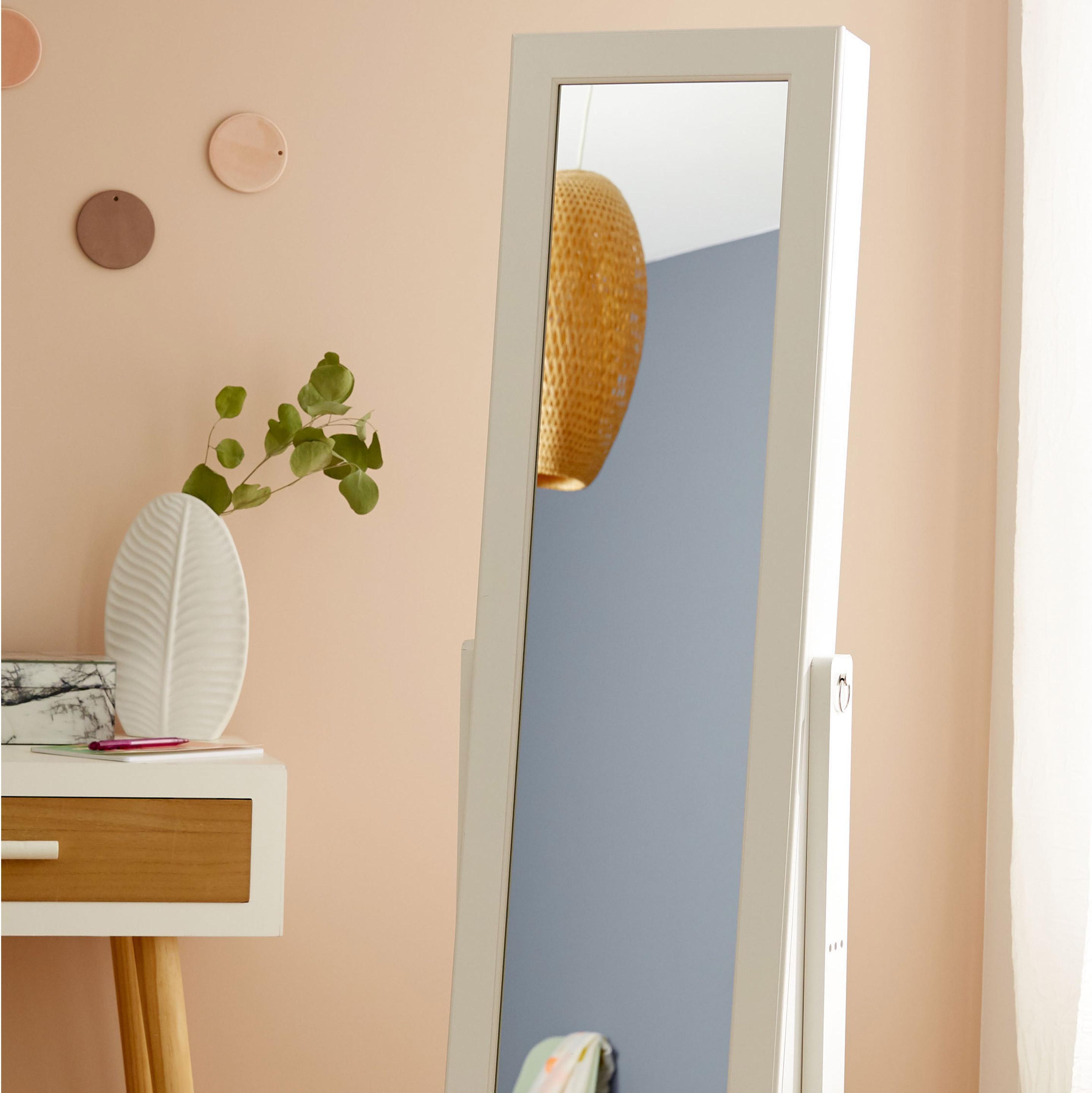 Miroir Psyché Bijoux, Blanc, L.21 X H.106 Cm