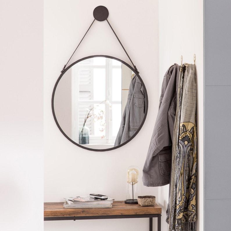 Miroir rond Barbier, noir, l.63 x H.63 cm