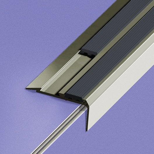 Nez de marche aluminium anodis gris x l 4 cm for Marche du carrelage
