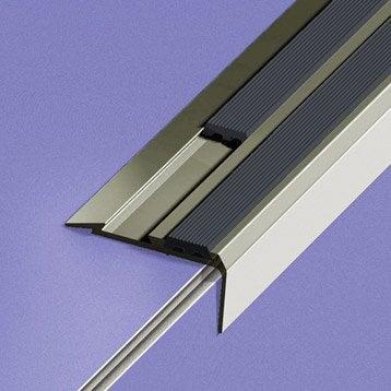 Nez de marche aluminium anodisé gris L.170 x l.4 cm