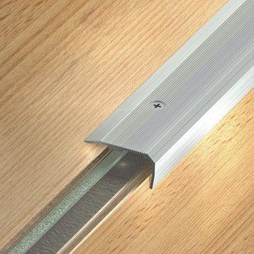 Nez de marche aluminium anodisé gris L.170 x l.3.6 cm