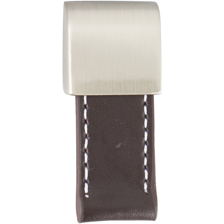 Bouton de meuble Tirette cuir brossé