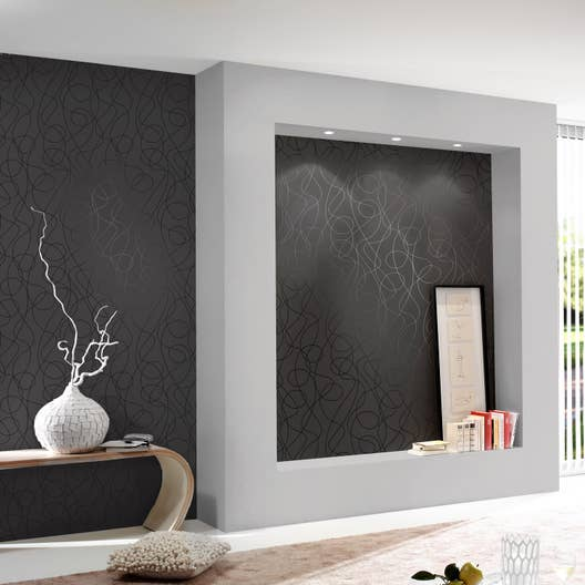 papier peint intiss serpentin noir leroy merlin. Black Bedroom Furniture Sets. Home Design Ideas
