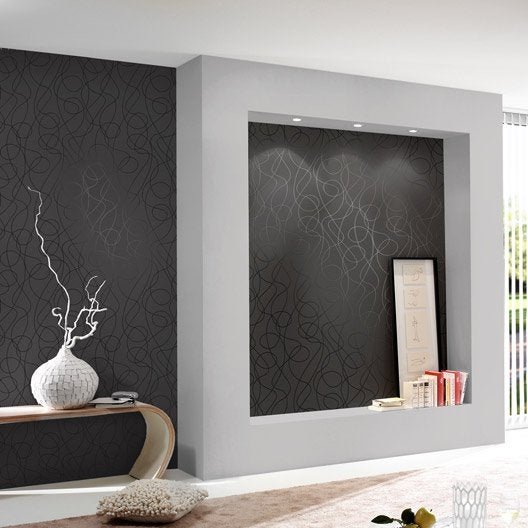 papier peint intiss serpentin noir leroy merlin. Black Bedroom Furniture Sets. Home Design Ideas