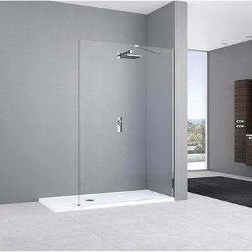 Paroi de douche à l'italienne, l.80 cm verre transparent 8 mm Elisea