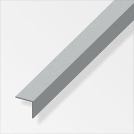 Cornière égale aluminium brossé, L.2.5 m x l.1 cm x H.1 cm
