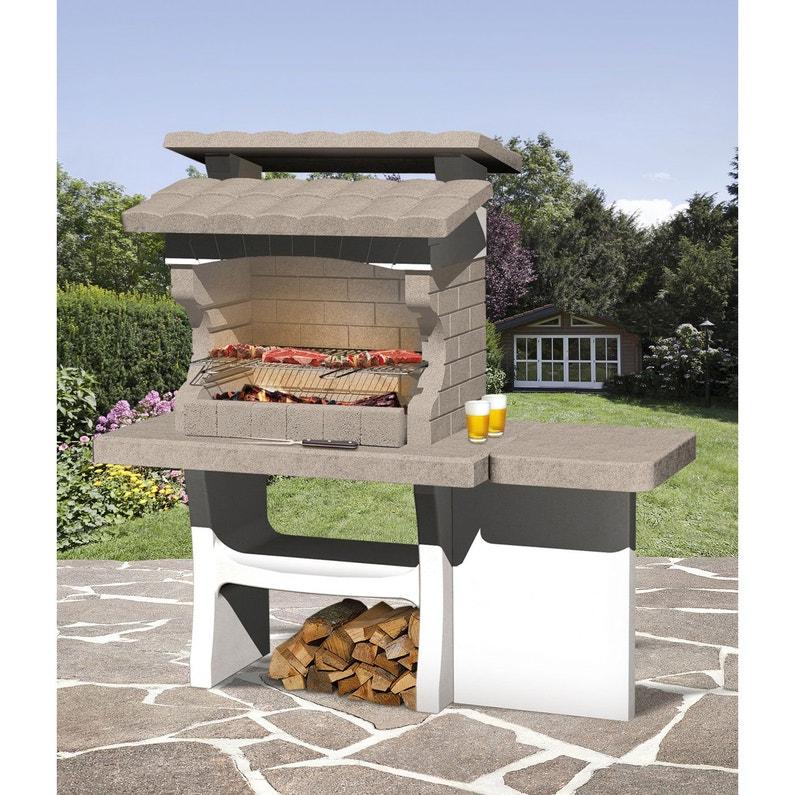 Barbecue En Beton Beige Et Gris Luxor L 159 X L 72 X H 161 Cm