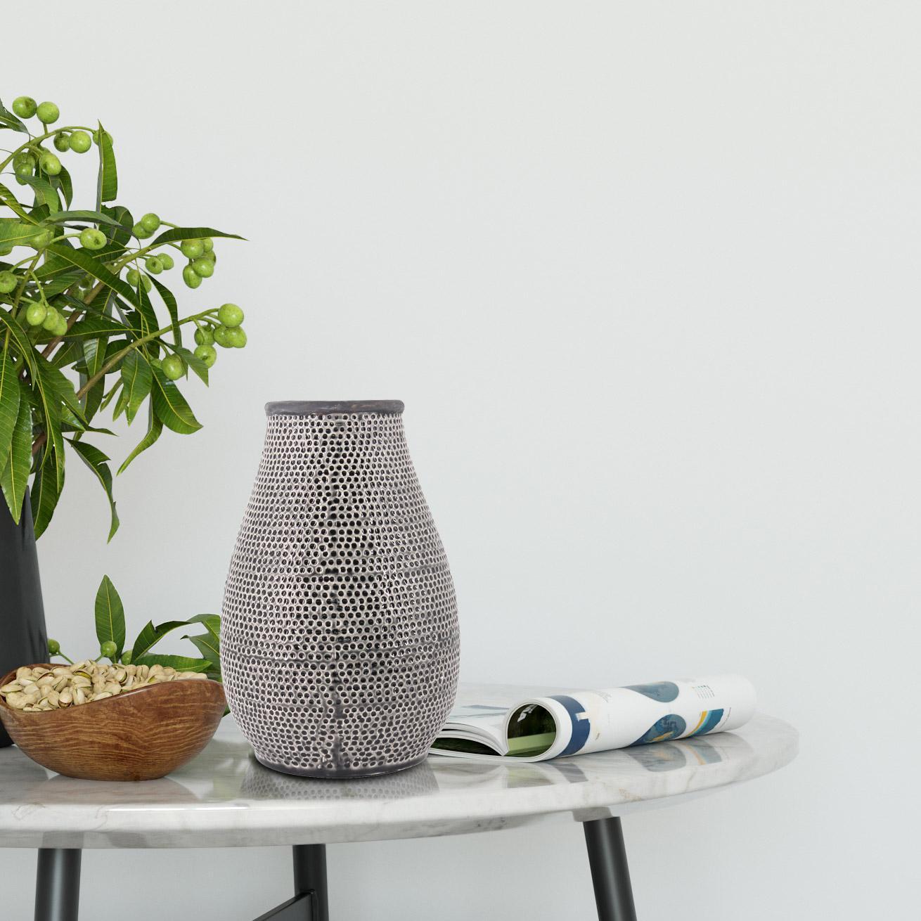 Vase décoratif céramique Daiko, gris / argent l.19 x H.30 cm