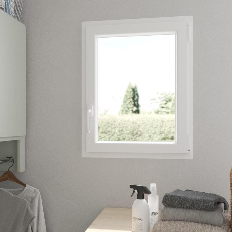 Fenêtre Pvc H75 X L60 Cm Blanc 1 Vantail Oscillo Battant Tirant Droit