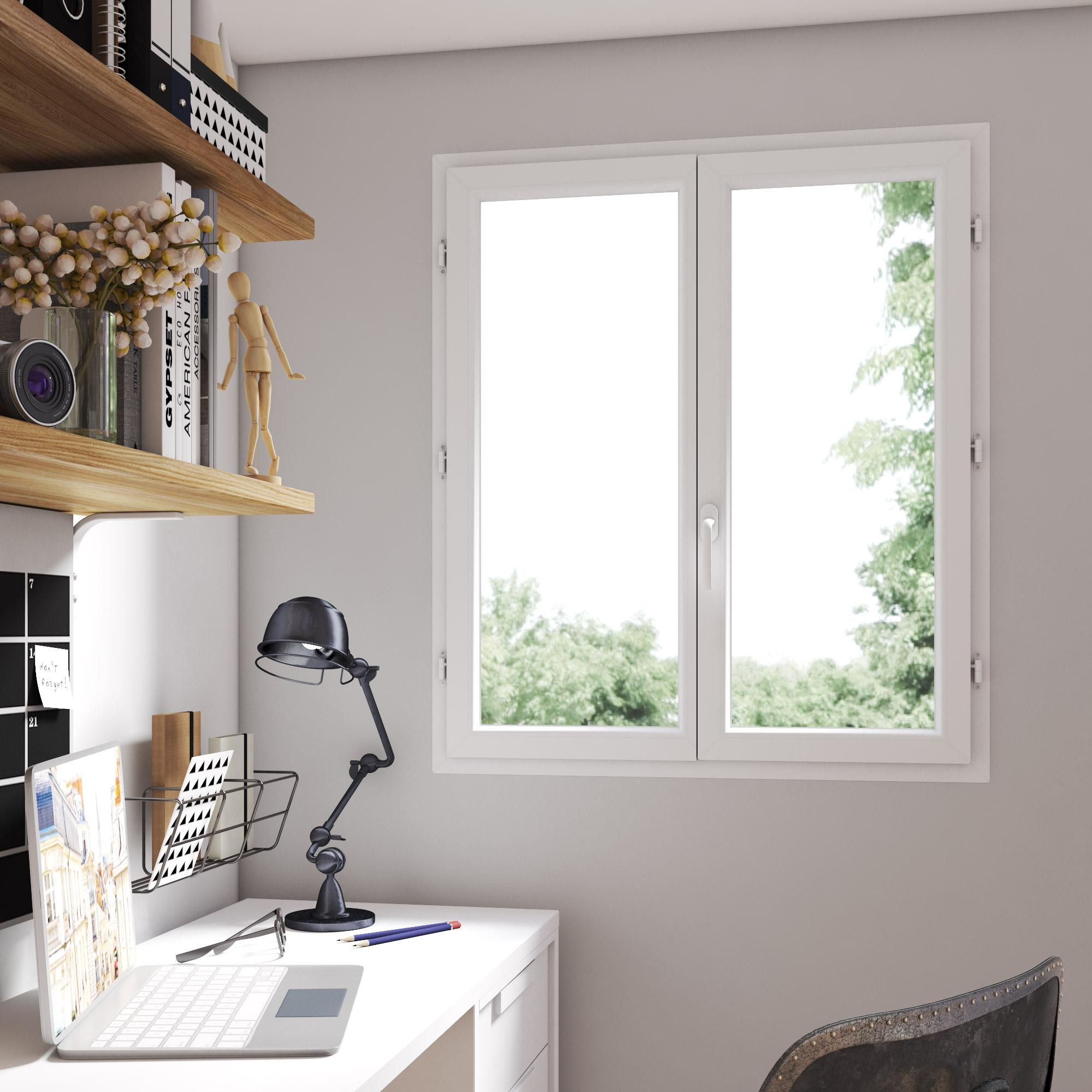 Fenêtre PVC H.115 x l.100 cm, blanc / blanc, 2 tirant droit