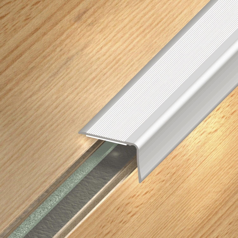 Nez de marche aluminium anodis gris x l 3 6 cm for Couper une barre de seuil