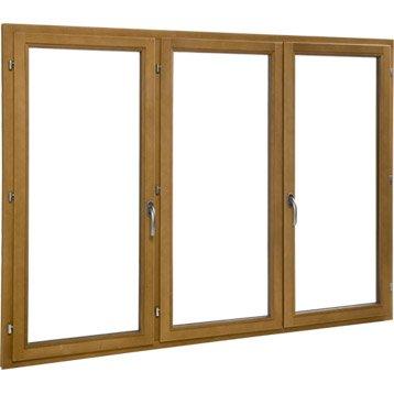 Fenêtre bois 3 vantaux ouvrant à la française H.125 x l.180 cm