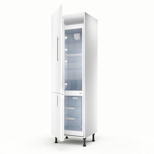 Meuble de cuisine colonne blanc 2 portes rio x for Meuble cuisine profondeur 60