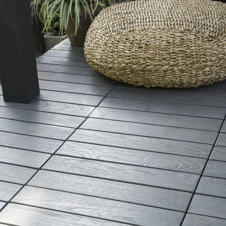 dalle clipsable bois gris d cap x cm x mm leroy merlin. Black Bedroom Furniture Sets. Home Design Ideas