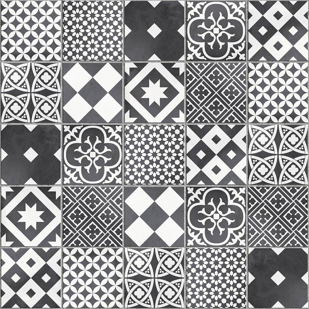 mosaque sol et mur gatsby dcor noir et blanc 617 x 617 cm