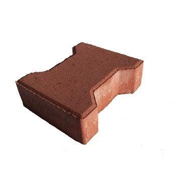 Pavé Icare béton, rouge L.19.8 cm x l.16.5 cm x Ep.60 mm