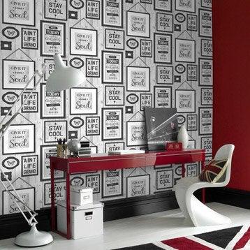 Papier peint papier Typo loft gris