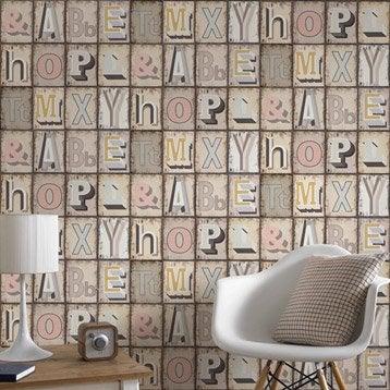 Papier peint intissé Typograph multicouleur