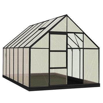 Serre de jardin en polycarbonate simple paroi Rainbow noir, 9.9 m²